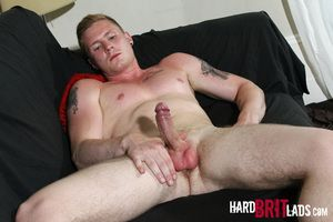 Handsome, blue-eyed personal trainer Harry Lawson chats with us at Hard Brit Lads before marauding yon to his undies, flaunting his hot muscled body. Then he gets indubitably naked and lubes his stiff uncut dick before jerking off for us and enunciation
