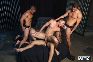 Introducing 3 new MEN.COM exclusive porn stars: Duncan Black, Donny Wright Liam Magnuson! The scene features Duncan Black and Policeman Clark as a hot couple with a problem - theyre both bottoms! Policeman wants to strive spicing up their relationship by