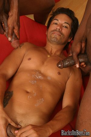 Sweet boy gets cumshot and anal intrigue b passion by two black dicks