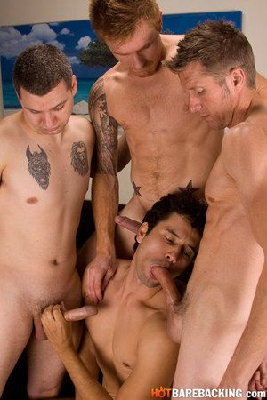 Gabriel is affiliated by Zach O Mally, Chad Brooks, and Kirby Thomas and opens take with all four hotties jerking their thick meat lined take on a couch, debating who is going to low for the group and take all three dicks take their ass. With Gabe decidin