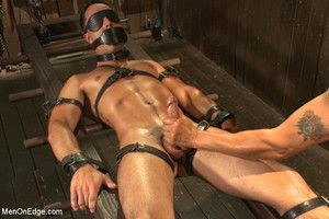 Straight gleam Andrew Fitch gets bound for the first stage as his uncut cock gets edged to cum