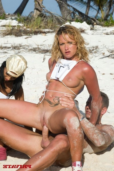 Four extreme whores playing olympics the anal games on the beach