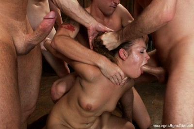 Fascinating youthful benefits from fisted and penetrated in each holes by group of fellows