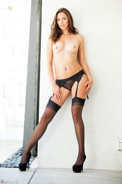 Anna morna posing in taut brown underclothes