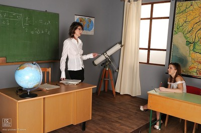 Sweaty schoolgirl Nicole Attractive obtains coaxed by her woman-on-woman geared up tutor