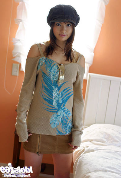 Seductive Japanese juvenile with insignificant front bumpers Hikaru Koto striptease off her clothing
