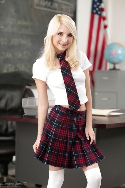 Platinum golden-haired schoolgirl Piper Perri exposing bald juvenile pornstar cage of love