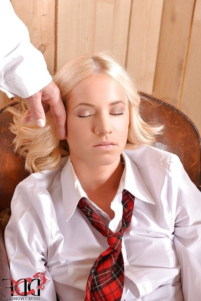 Bond schoolgirl enjoys non unclothed Sadomasochism smokin