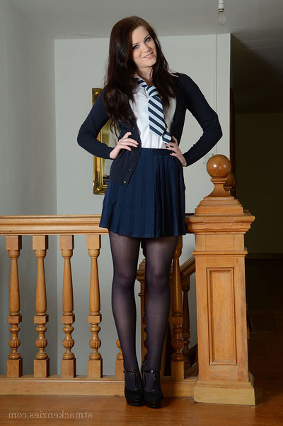 Nice-looking schoolgirl Jessica-Ann Fegan modeling non as mother gave birth in  and short skirt