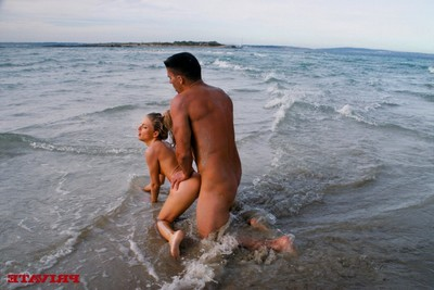 Golden-haired nice-looking lass dug in wazoo in the sea