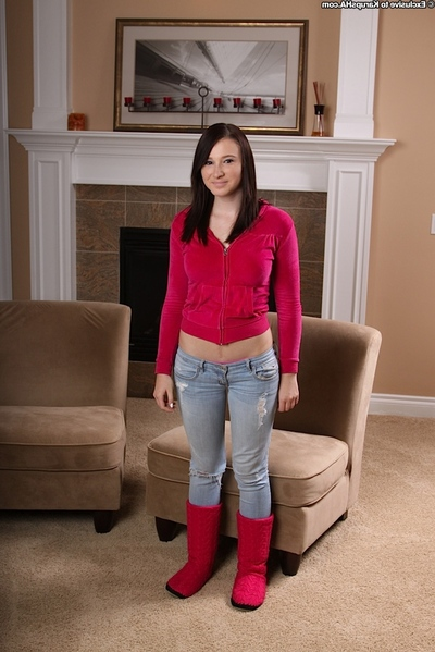 Bosomy infant teenie in jeans undressing and spreading her limber fur pie