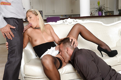 Charming blonde youthful Christen Courtney sucking and fucking in MMF two men plus one female