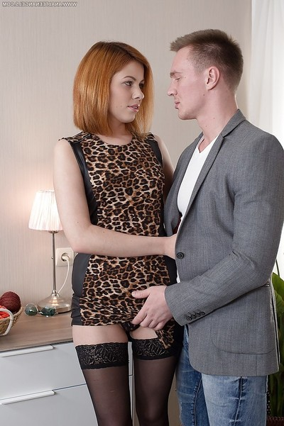 Damp redheaded wife Tarra White greeting hubby successive till in ebon underclothes
