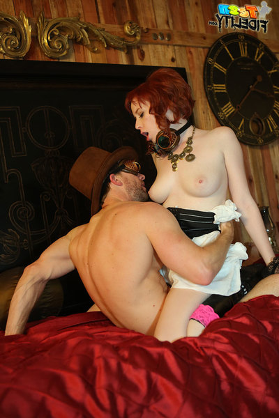 Zoey Nixon and her creamy skin and red hair look like good during the time that shes getting drilled by Ryan for this steam punk themed scene.