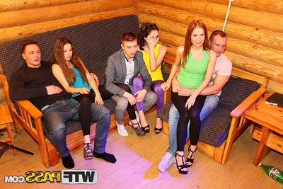 Pretty student babes duo a lascivious hardcore get-together