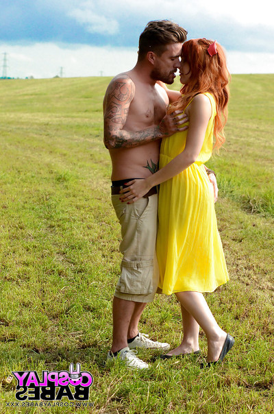 Sperm dribbles down the chin of a redhead teen named Amarna Miller