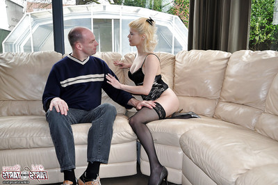 Curvy golden-haired young jerking smooth on top man