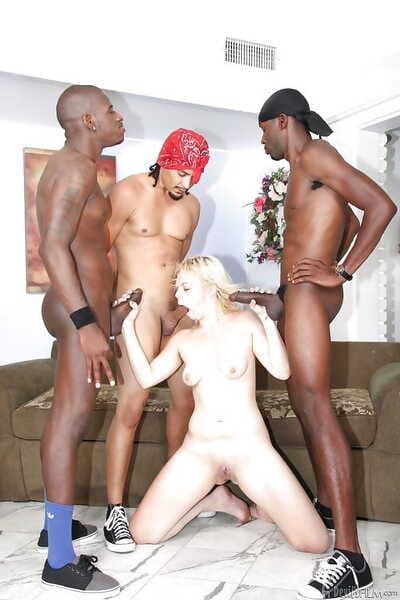 Hardcore fairy Alice Frost is astonishingly with gang of largest ebon men