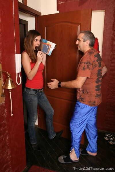 Lewd college student Liza seduces her old advisor underside false pretenses