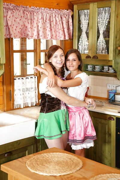 Infant lesbo Morgan R and gf disrobe dresses for lewd kitchen fucking action