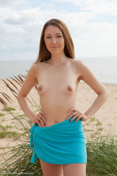 Adolescent solo chicito Dominika B sports put up nipps at the same time as enormously stripped on a beach
