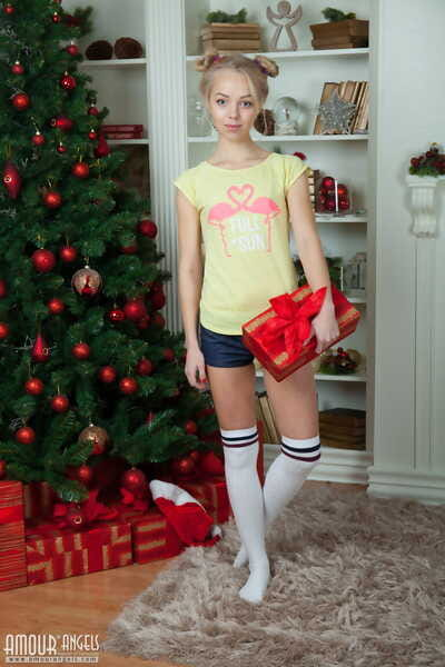 Small flat chested teen Estel expanding legs on mas morning in knee socks