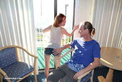 Freckle faced redhead Alyssa Hart jerks off her stepfathers massive 10-Pounder
