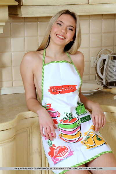 Indebted fairy kitchen angel Eva Jude smears her undressed milk shakes & anus with flour