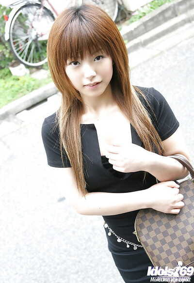 Charming Japanese young hottie with miniature wobblers erotic dancing and lovely a shower-room