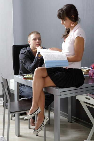 Euro schoolgirl Shrima copulates her bf instead of studying her textbooks