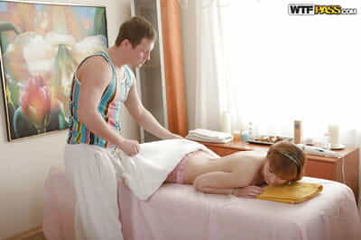 Appealing youthful accepts jizzed over her wazoo and previously afterwards act of love with a masseur