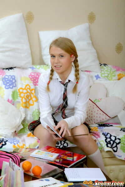 Juvenile schoolgirl in pigtails caves in to her bfs dirty moves even as studying