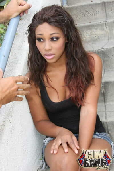 Nice-looking brown Leilani Leeane accepts a facial basting in interracial bukakke