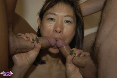 Dual eastern amateurs benefits from penetrated by twofold prides in gangbang