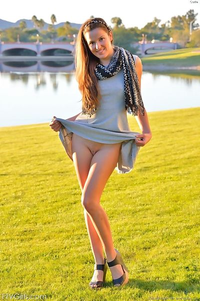 Infant solo model toys her own dark hole right after flashing at public park