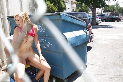 Blonde teen pornstar Alexa Become taking cumshot on orientation connected with public place