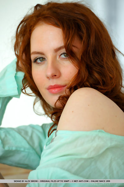 Redhead hottie exposing little milk shakes and bushy infant muff for glamour photos
