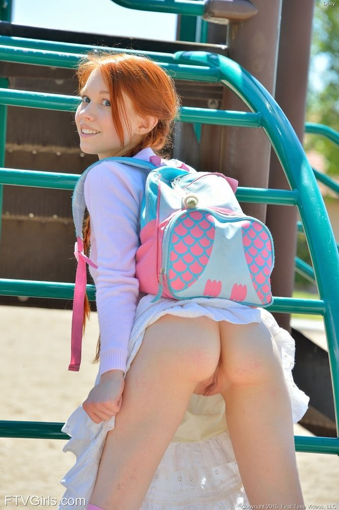 Tiny ginger schoolgirl pleasures her constricted snatch with a vibrator
