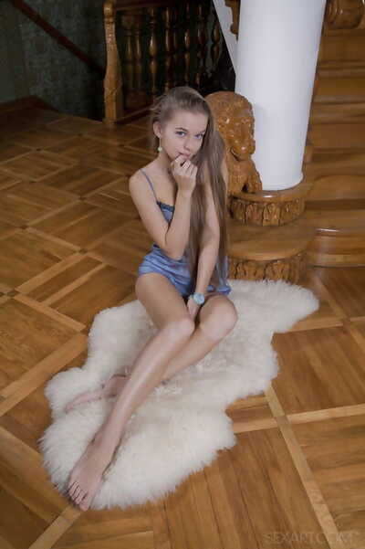 Mini wiry young with wish hair Milena D lets slip her tense pink pussy