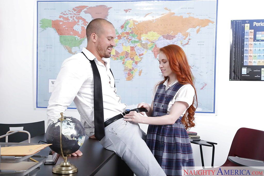 Glasses and uniform attired redheaded schoolgirl Dolly