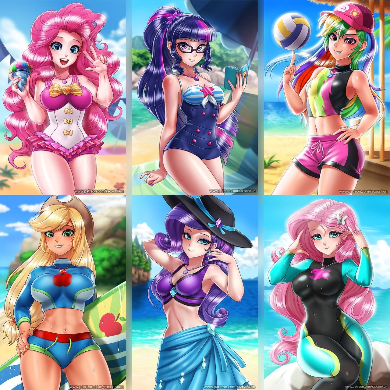 Racoonkun EQG Swimsuits