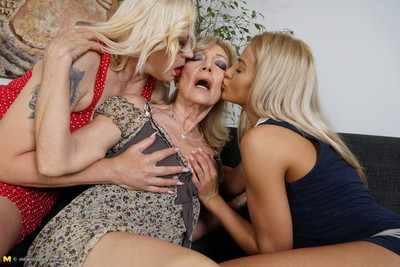 3 old and adolescent lesbos making out and then some