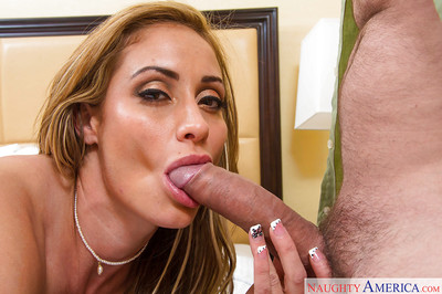 Heavy chested golden-haired Eva Notty giving titjob in grant for cage of love take up with the tongue