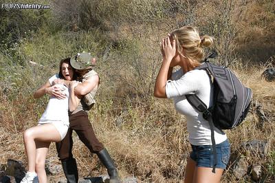 Hawt swingers Katie Jordin and Nicole Aniston have fucking action outdoor