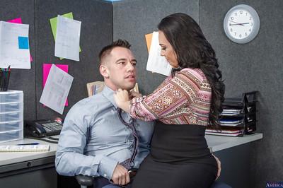 Office secretary Holly West fantasies about hardcore face-fucking