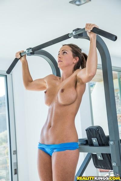 Huge pantoons hottie Abigail Mac is activity some sports in her unproven gym
