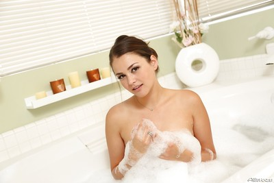 Pornstar princess Allie Haze is washing her small milk sacks in the shower-room