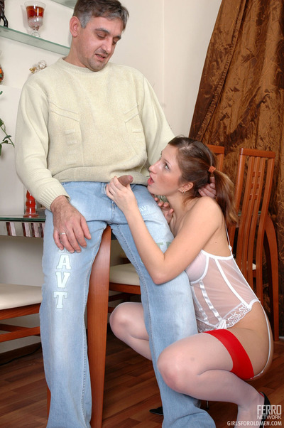 Aging stallion caught trousers unzipped dipping tongue and snake likes unpracticed pussy