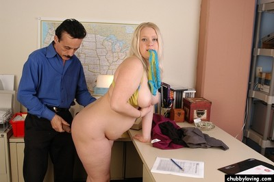 Blond plumper Samantha is unclothed for bend over fucking fucking action in classroom
