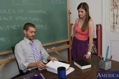 Sweaty brunette hair bookworm is supplementary sexual with her teacher.